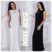 Свободное летнее платье в пол из вискозы (2 цвета) h-5031785