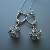 Серебряные серьги-подвески Кубики с прозрачными фианитами, фото 2