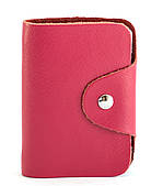 Удобная розовая женская карманная визитница на кнопке APPLE art. Б/Н визитница