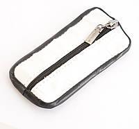 Прочная кожаная белая ключница на молнии art. (100876), фото 1