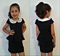 Черный сарафан баска с белым воротником для девочки в школу
