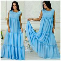 Длинное летнее шифоновое свободное платье в расцветках r-5031788