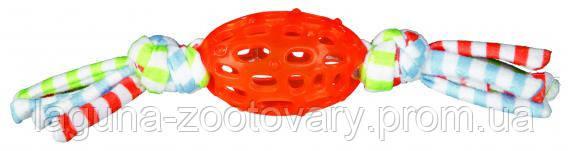 Игрушка для собак мяч регби с веревками термопластрезина 8см/28см, фото 2