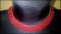 Гердан, намисто ручної роботи з бісеру червоного кольору