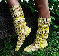 Желтые летние ажурные стильные женские сапожки из кружева макраме. Арт-0048, фото 1