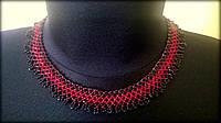 Гердан, намисто ручної роботи з бісеру червоного та чорного кольорів