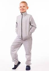 Детский спортивный костюм для мальчиков серый летний трикотажный 80-02