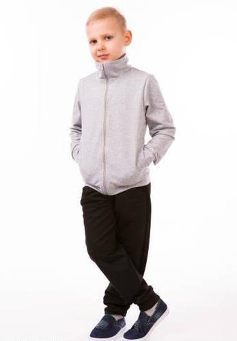 Детский спортивный костюм для мальчиков серый летний трикотажный 80-01
