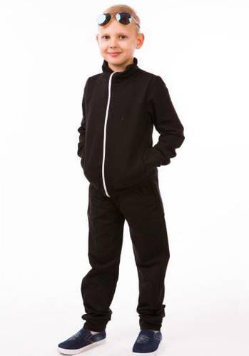 Детский спортивный костюм для мальчиков черный летний трикотажный 80-00