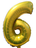"""Воздушный шар фольгированный золотисто-лимонный, цифра """"6"""""""