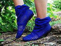 """Летние стильные синие сапожки из кружева """"сетка"""". Арт-0051"""