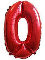 """Воздушные шары оптом. Шар фольгированный красный, цифра """"0"""""""