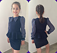 Темно-синее школьное платье с шифоновыми рукавами для девочки