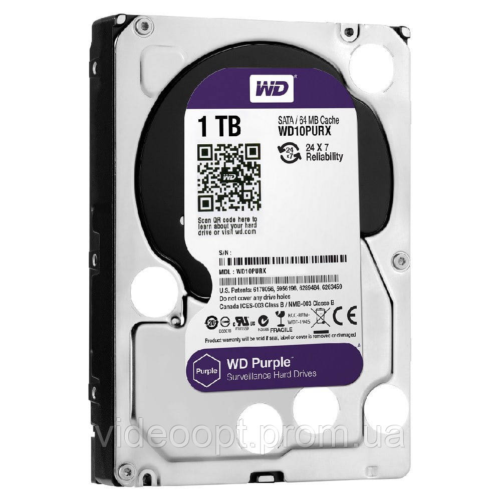 Жесткий диск Western Digital Purple 1TB 64MB WD10PURX 3.5 SATA III - Видео ОПТ в Кривом Роге