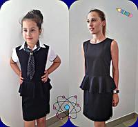Черный школьный сарафан с баскойдля девочки-подростка