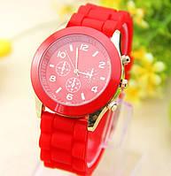 Женские часы силиконовые Geneva Luxury Red красные