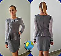 Серое школьное платье с шифоновыми рукавами для девочки-подростка