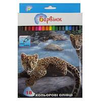 Карандаши цветные 18 цветов Леопарды  5-203/3  БАРВИНОК