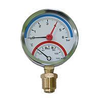 Манометр + термометр 1/4 120С 1-6 бар, нижнее