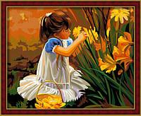"""Роспись на холсте по номерам """"Девочка с цветами"""", """"Общение с природой"""", 40х50см. (MG030, КН030)"""