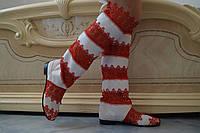 Стильные высокие красно-белые женские кружевные сапоги. Арт-0070