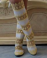 Стильные высокие желто-белые женские кружевные сапоги. Арт-0070