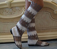 Стильные серо-белые женские кружевные сапоги-ботфорты. Арт-0070
