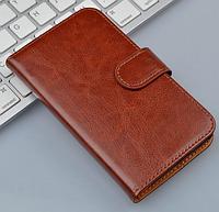 Кожаный чехол-книжка для Lenovo A398T коричневый