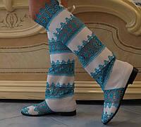Стильные бело-голубые женские кружевные сапоги-ботфорты. Арт-0070