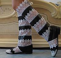 Стильные высокие черно-белые женские кружевные сапоги. Арт-0070