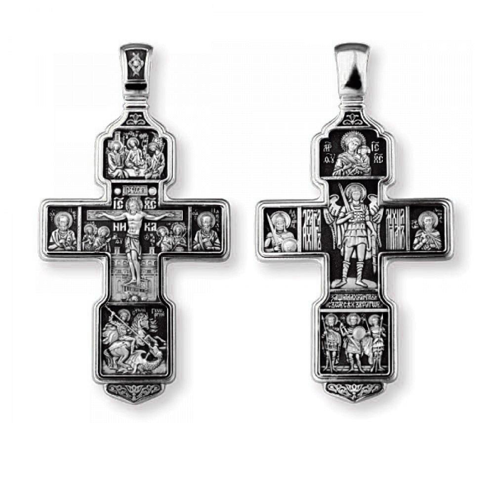Крест Распятие Христово с предстоящими.Святая Троица.Архангел Михаил.Св. Воины.Тихвинская 8199