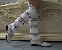 Стильные высокие белые женские кружевные сапоги ботфорты. Арт-0070