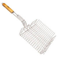 Решетка для шашлыка глубокая двойная: деревянная ручка, 56*31*24*5,5 см