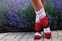 Летние ажурные стильные цветные полосатые полусапожки (белый,красный,черный). Арт-0080