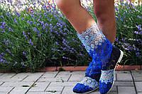 Летние ажурные стильные цветные полосатые полусапожки (голубой,синий,черный). Арт-0080