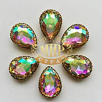 Капли в ажурных цапах золотого цвета Размер 13х18 Crystal AB
