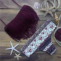 Купальник раздельный Нежные цветочки, фиолетовый верх
