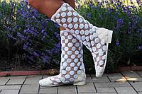 Белые летние полусапожки из кружевной сетки. Арт-0082