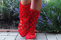 Красные летние полусапожки из кружевной сетки. Арт-0082