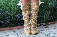 Стильные летние кружевные ажурные однотонные сапожки на шнуровке сбоку. Арт-0083, фото 1