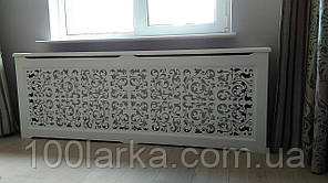 Деревянный декоративный экран на чугунную батарею отопления R17-F120 780х1200х170мм. с креплением для монтажа.