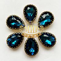 Капли в цапах ажурных золотого цвета Размер 13х18 Blue Zircon