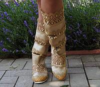 Летние высокие комбинированные золотистые сапожки, кружево+эко-кожа . Арт-0085