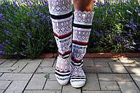 Летние высокие комбинированные полосатые сапоги, кружево+текстиль . Арт-0085