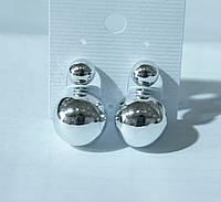 Глянцевые серьги пусеты под серебро. Модные сережки 2016. 330