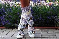 Эксклюзивные летние высокие комбинированные цветные женские сапоги, кружево+коттон. Арт-0051