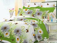 Постільна білизна двоспальне GOLD - на зеленому ромашки