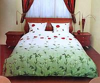 Постельное белье Евро размер ТЕП бязь/люкс - Маки зеленые с бабочками