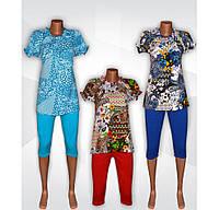 Комплект женский летний, блузка и бриджи, 100 % хлопок, 48-56.