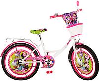 Велосипед детский мульт 20д. MI206B (1шт) DM,бело-малин,зеркало,звонок,корзина,в кор-ке,81-50-16см